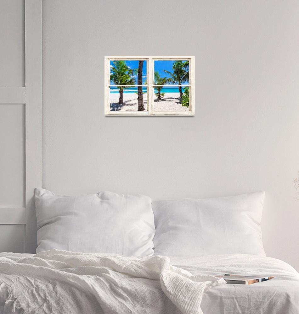 """Tropical Island Rustic Window View""  (2016) by lightningman"