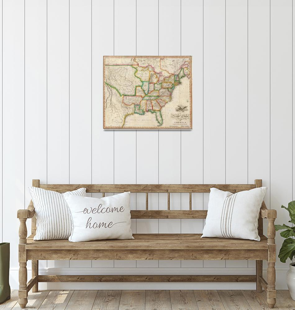 """""""Vintage United States Map (1822)""""  by Alleycatshirts"""