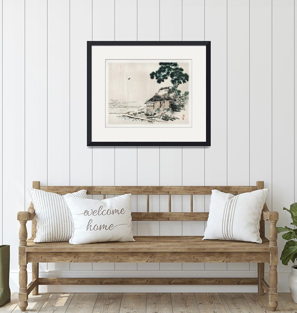"""Cottage Under a Tree by Kono Bairei"" by FineArtClassics"