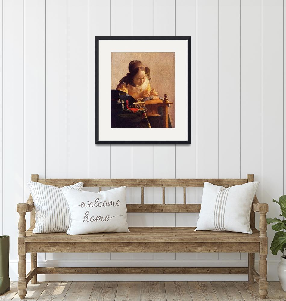 """""""The Lacemaker  by Vermeer""""  by ArtLoversOnline"""