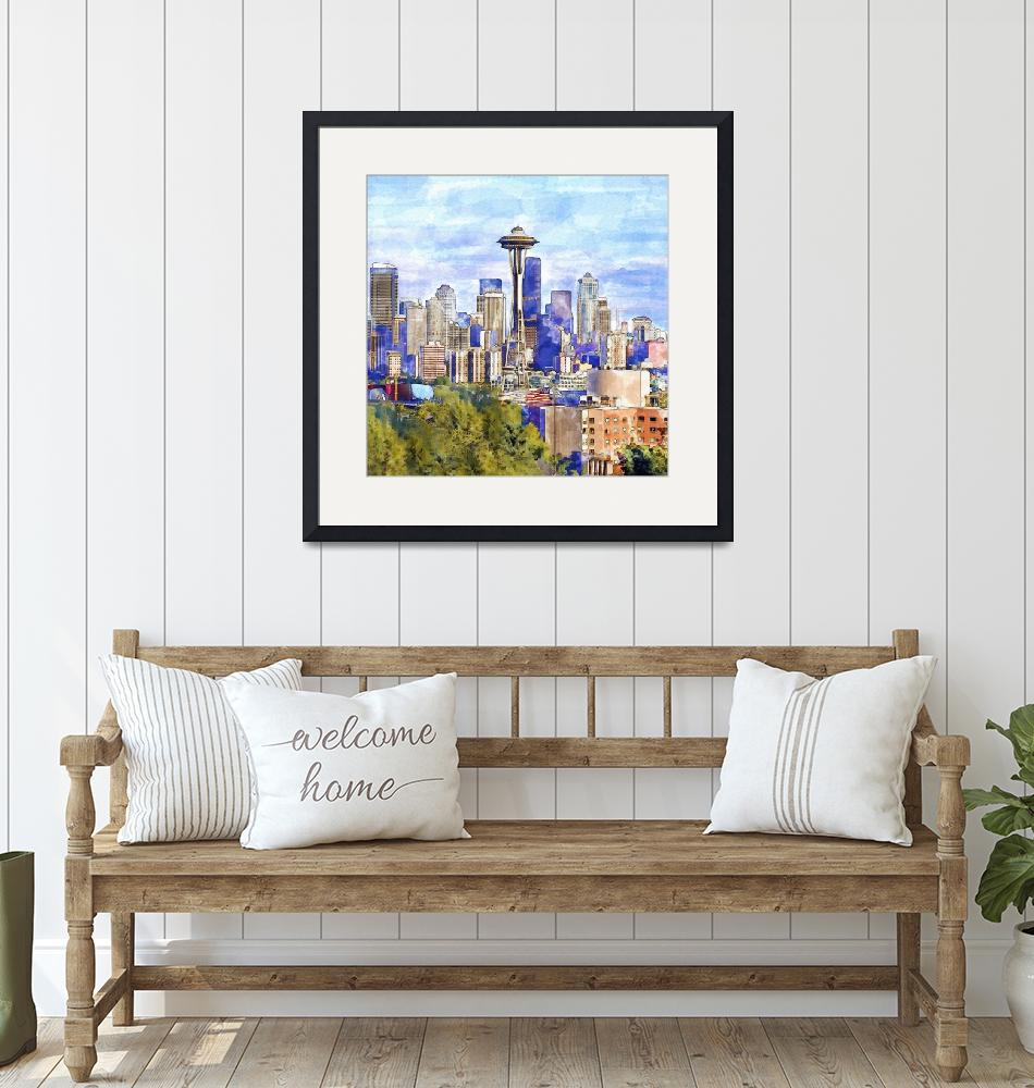 """""""Seattle View in watercolor""""  (2015) by MarianVoicu"""