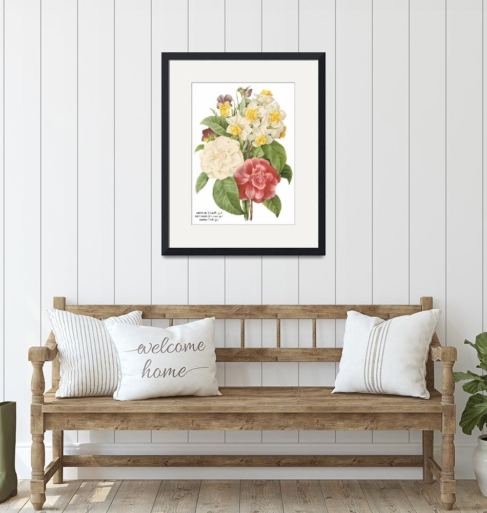 """""""Camellia, Narcissus and Pansy Botanical Art""""  by ArtLoversOnline"""