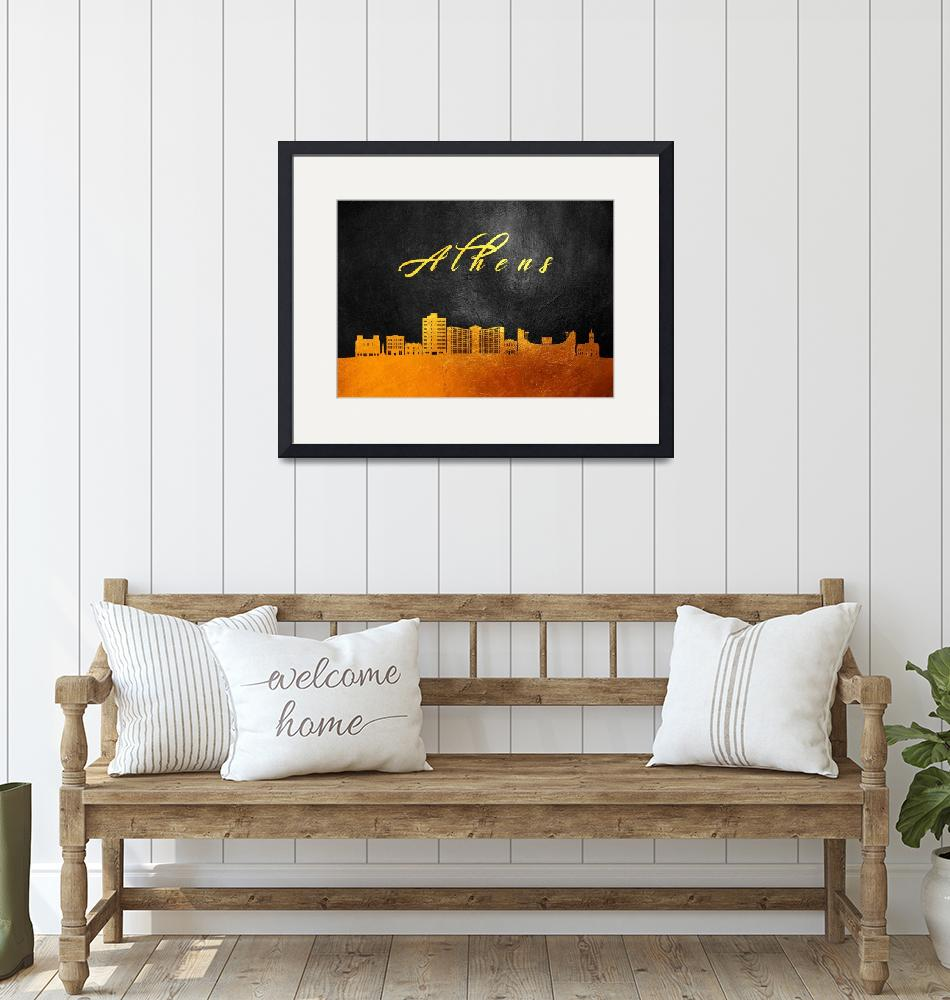 """""""Athens Georgia Gold Skyline""""  (2019) by ABConcepts"""