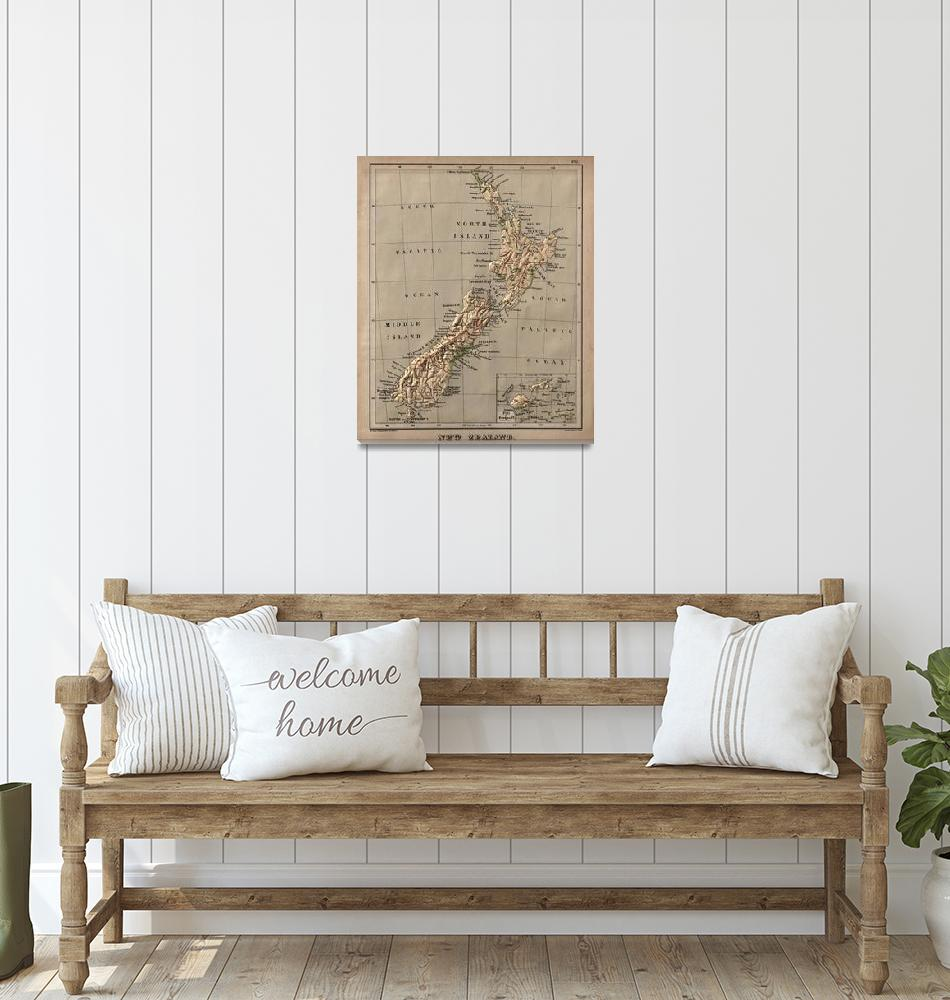 """""""Vintage New Zealand Physical Map (1880)""""  by Alleycatshirts"""