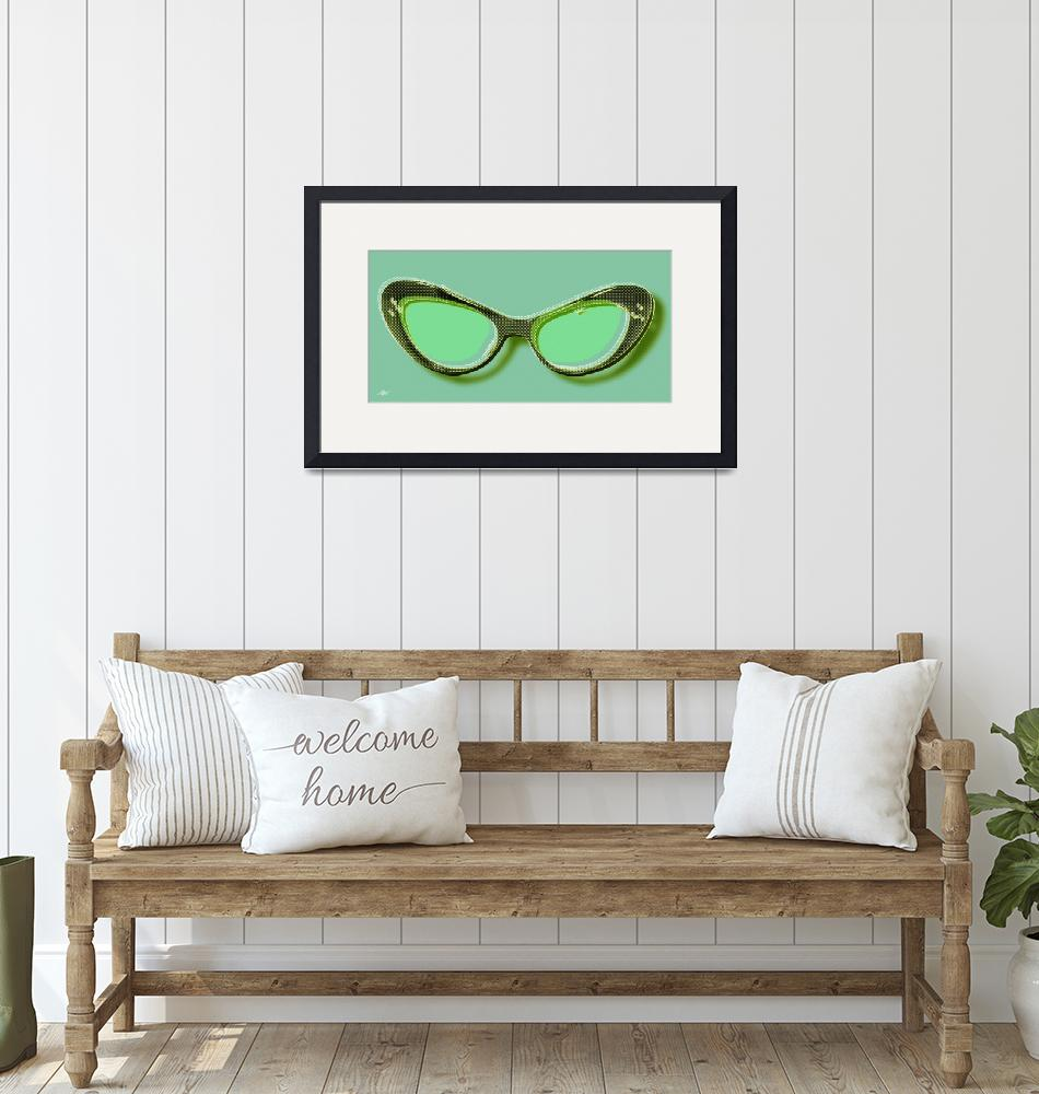 """Retro Glasses Funky Pop Mint Green""  by RubinoFineArt"