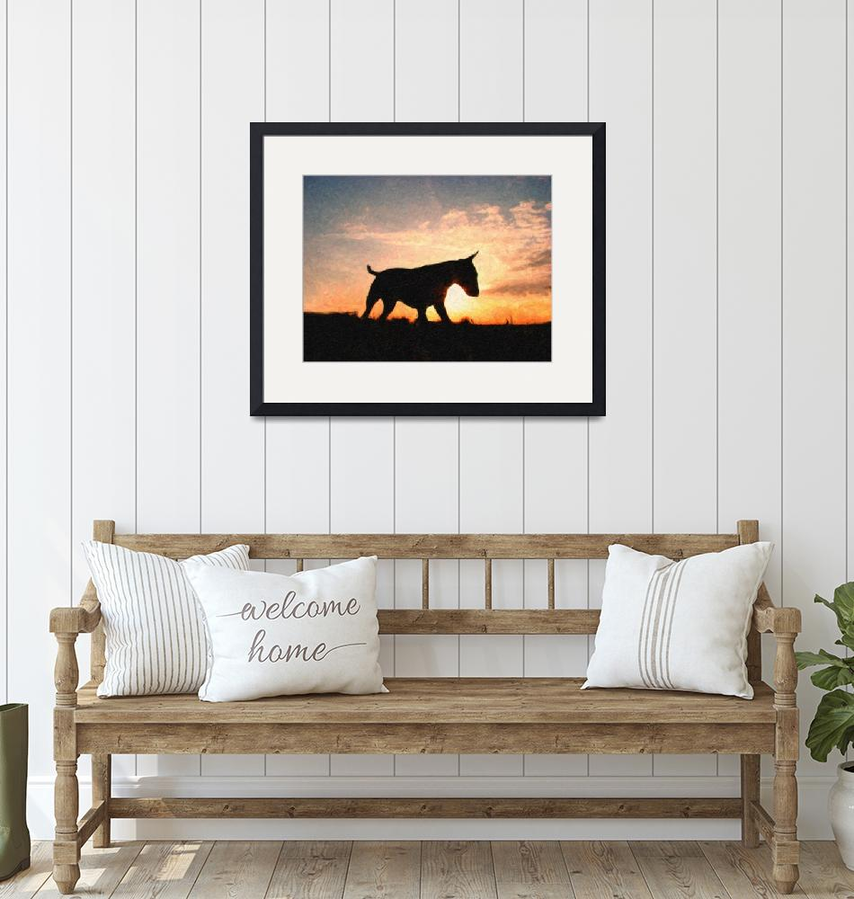 """English Bull Terrier & Sunset, Oil Paint Style""  (2008) by ModernArtPrints"