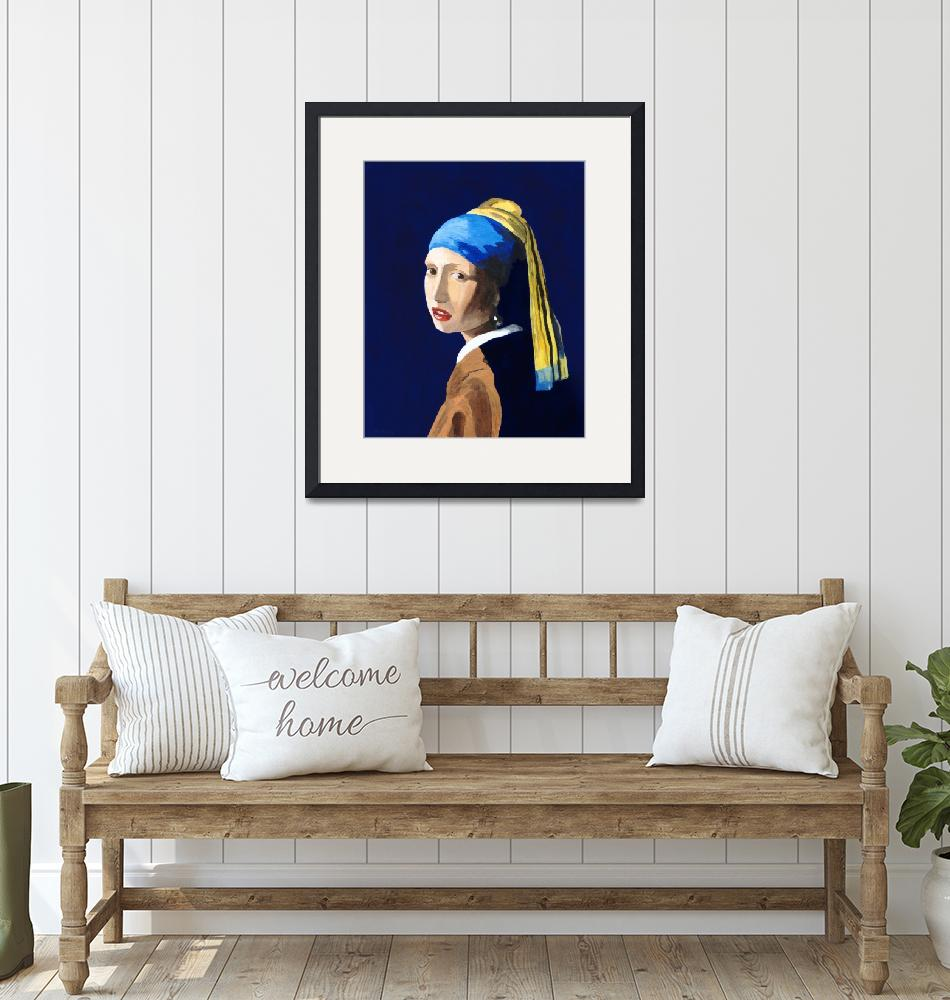 """""""The Girl with a Pearl Earring after Vermeer""""  (2009) by RodneyCampbell"""
