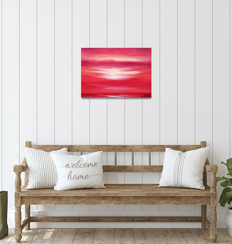 """""""Red Abstract Sunset""""  (2009) by GinaDeGorna"""