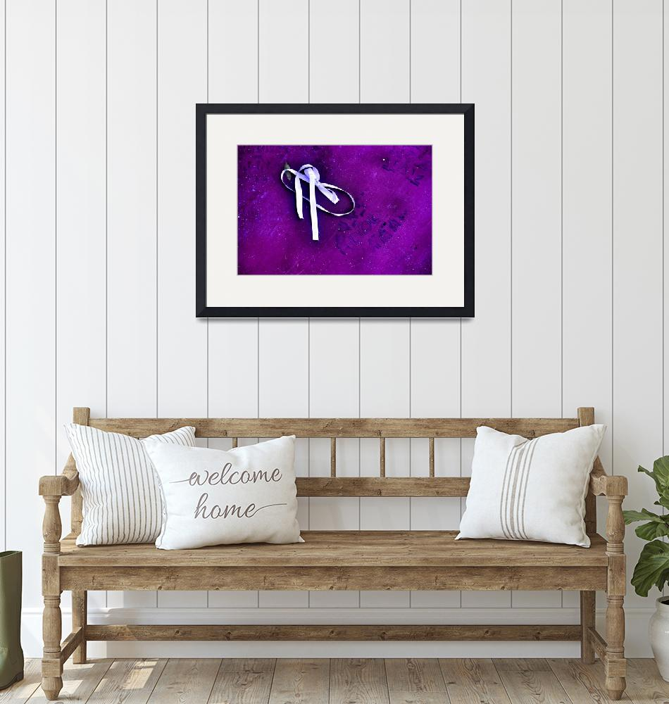 """""""White Ribbon and Boot Print on Purple""""  (2021) by nawfalnur"""