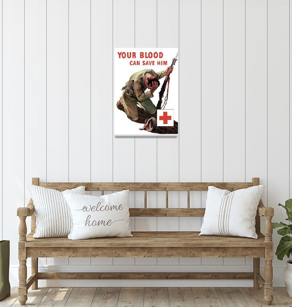 """Vintage World War II poster of a soldier kneeling""  by stocktrekimages"