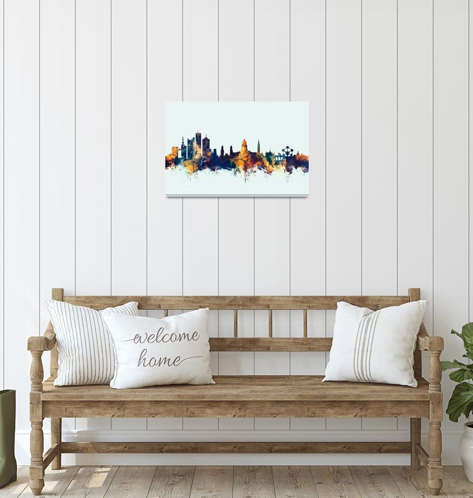 """Brussels Belgium Skyline""  (2017) by ModernArtPrints"