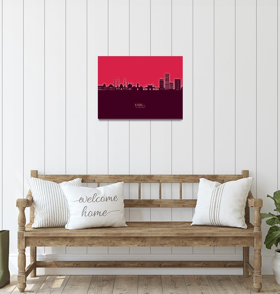 """Kabul Afghanistan Skyline""  (2021) by ModernArtPrints"