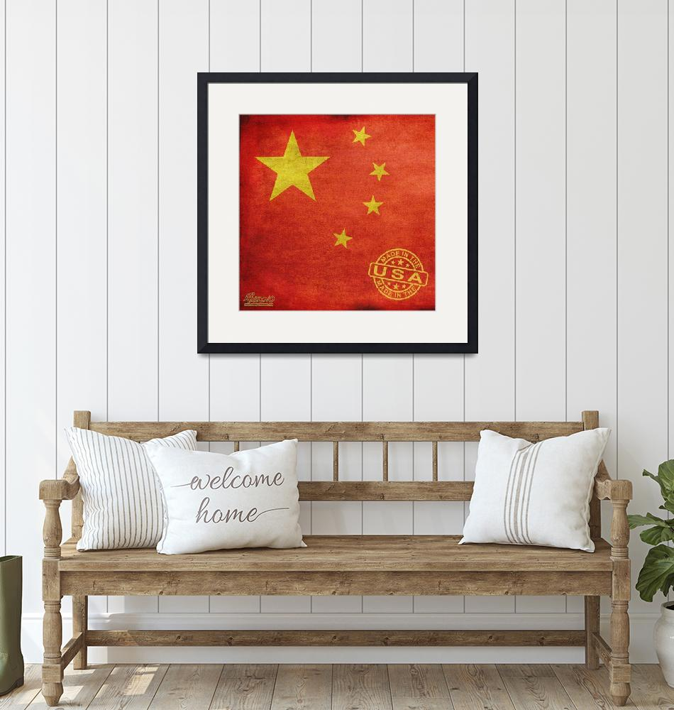 """""""China Flag Made In The USA""""  (2013) by RubinoFineArt"""