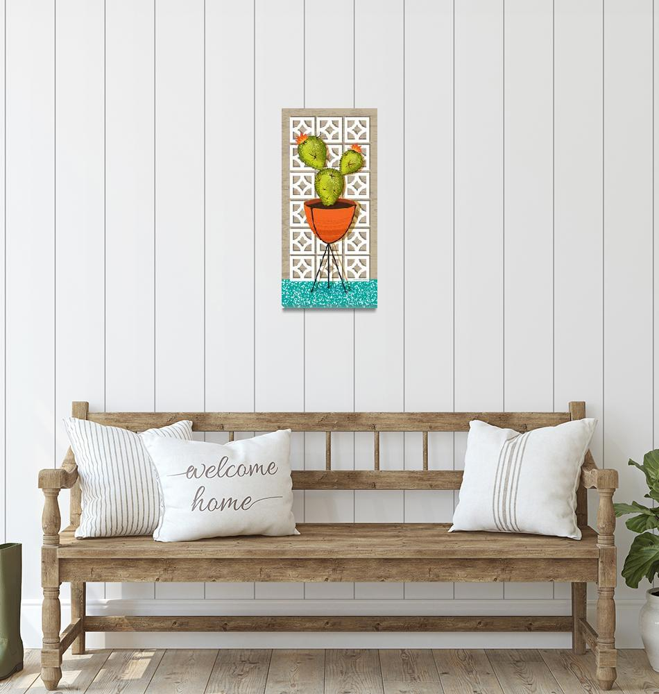 """""""Mid Century Modern Breeze Block Cactus Poster""""  (2018) by DianeDempseyDesign"""
