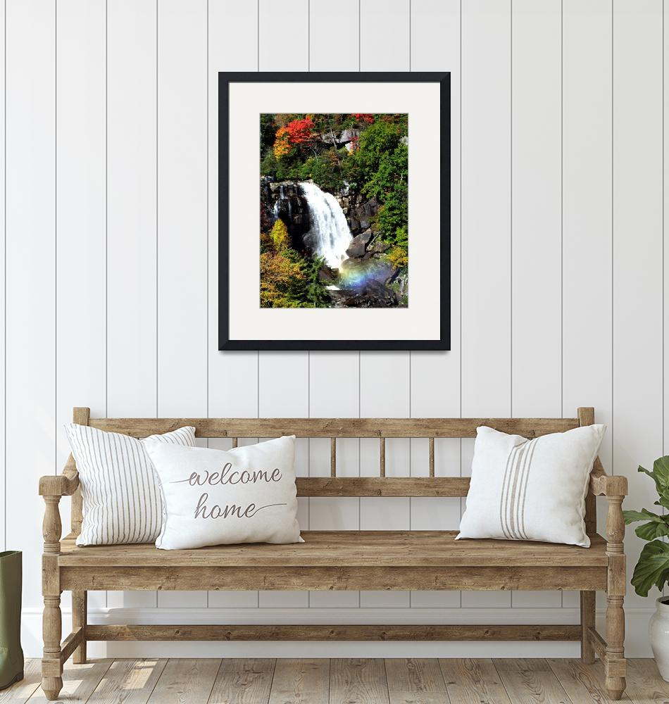 """""""Fall Falls on Whitewater Falls (with Rainbow)""""  by 1blessedmom"""