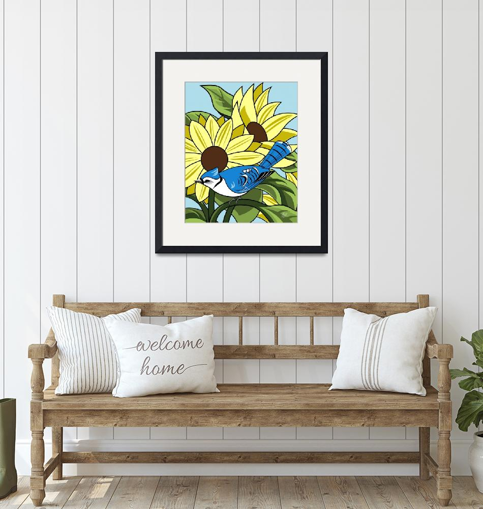 """""""Sunflowers and BlueJay""""  by waterart"""