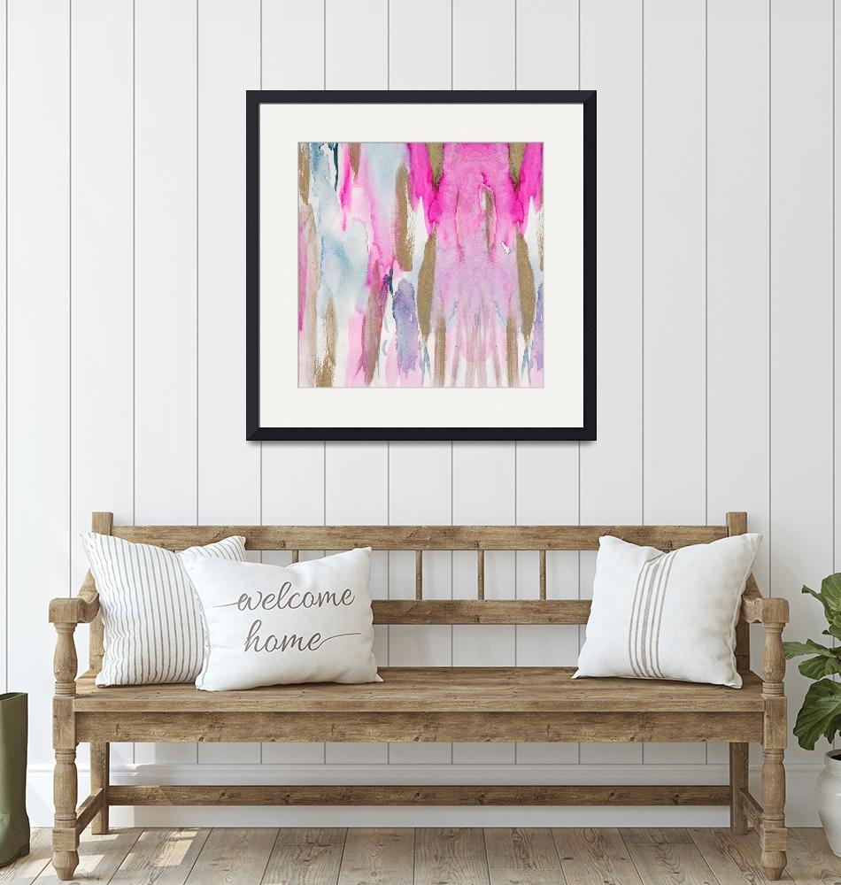 """""""Sparkling: Blush Pink And Gold Ink Abstract Art""""  by fineartgallery"""
