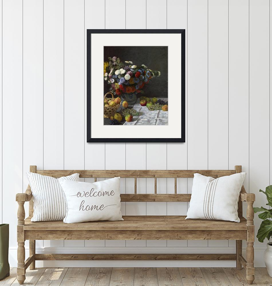 """""""Still Life with Flowers and Fruit by Claude Monet""""  by FineArtClassics"""