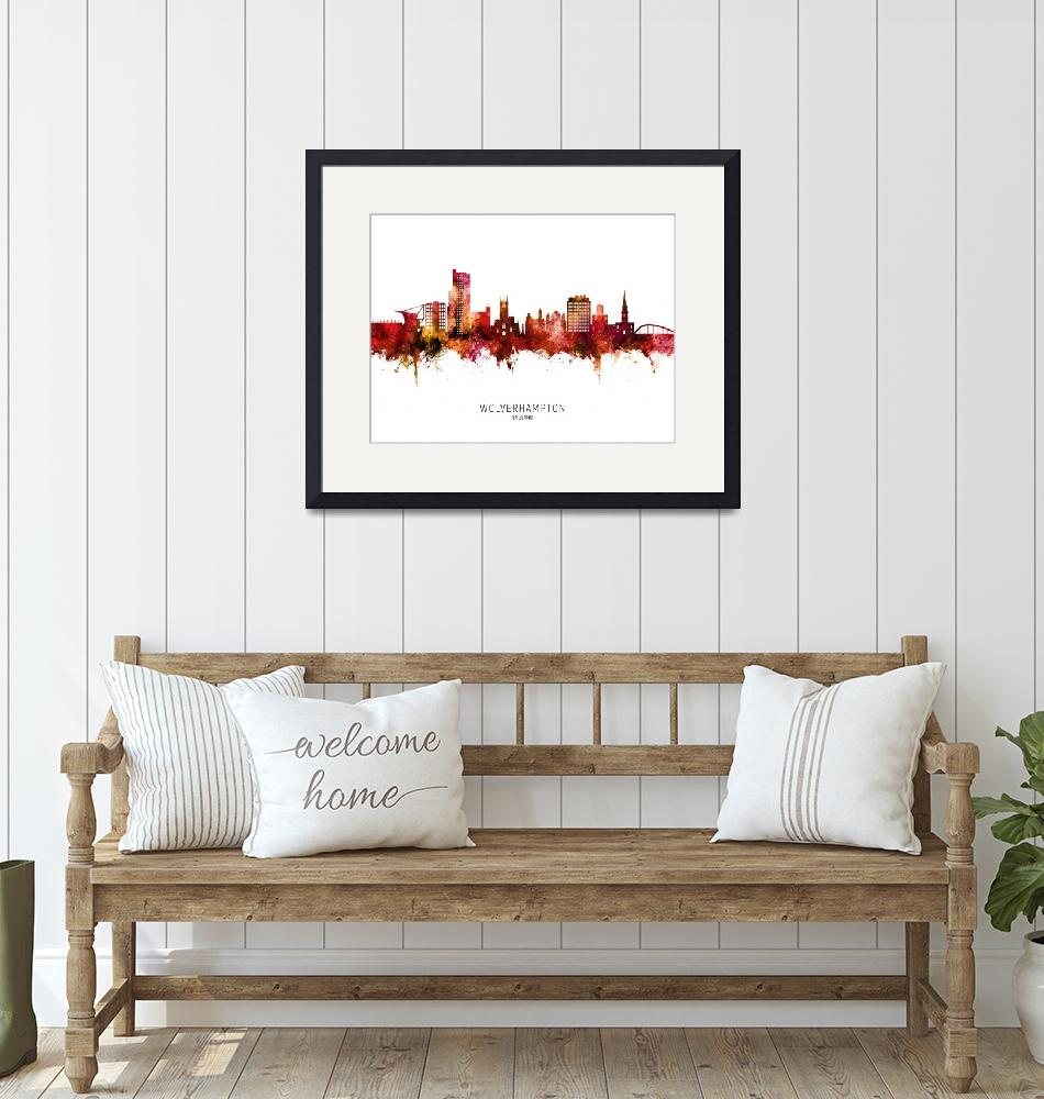 """Wolverhampton England Skyline"" (2020) by ModernArtPrints"