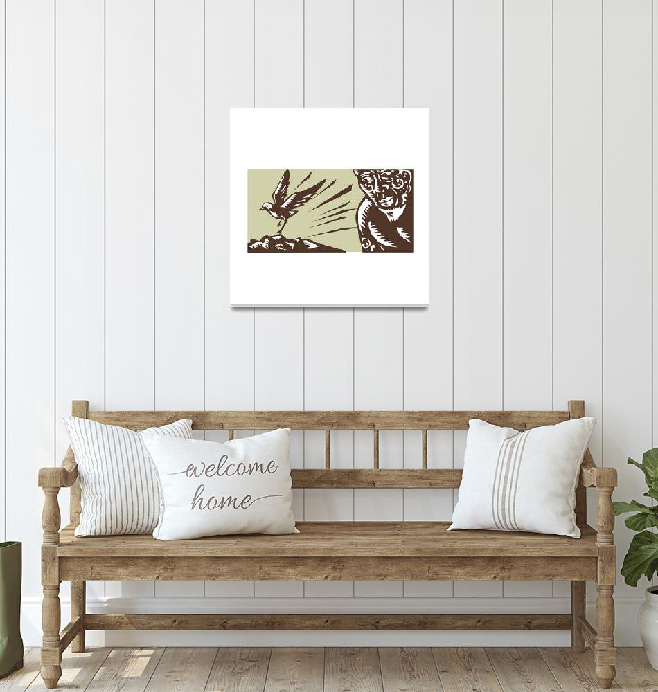 """Tagaloa Looking at Plover Bird Woodcut""  (2016) by patrimonio"