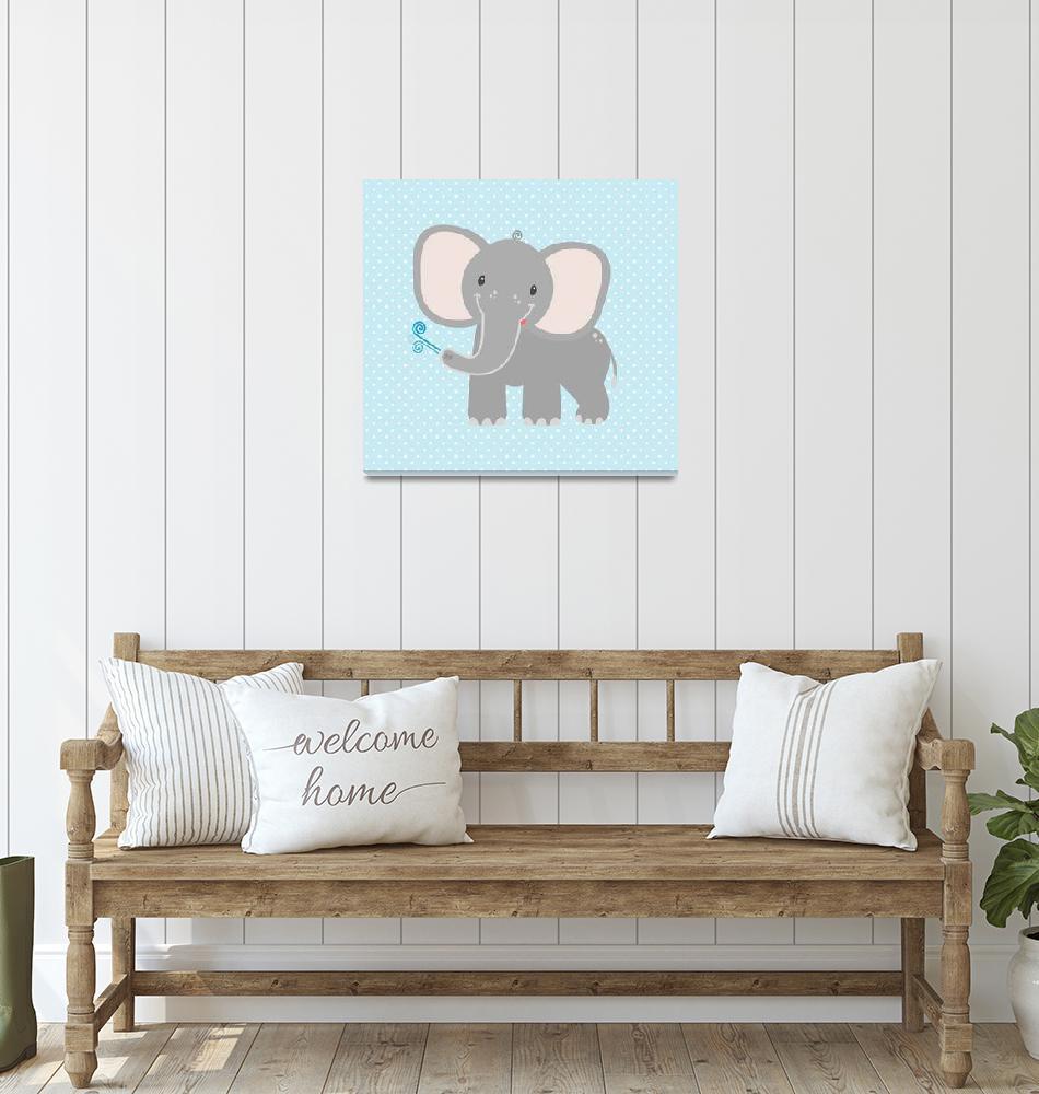 """Elephant  (blue)""  by littlebubbies"