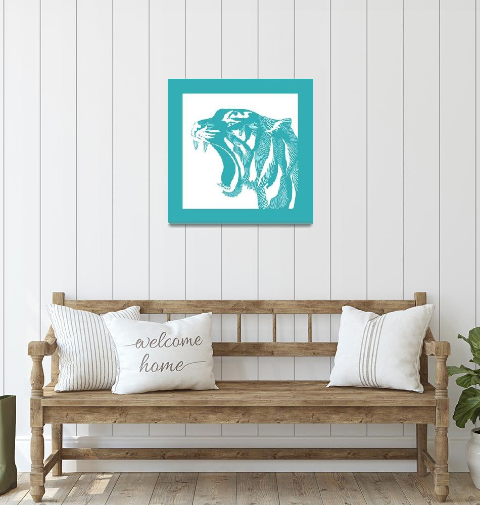 """""""Linocut Turquoise Tiger""""  (2016) by SusanBerryDesign"""