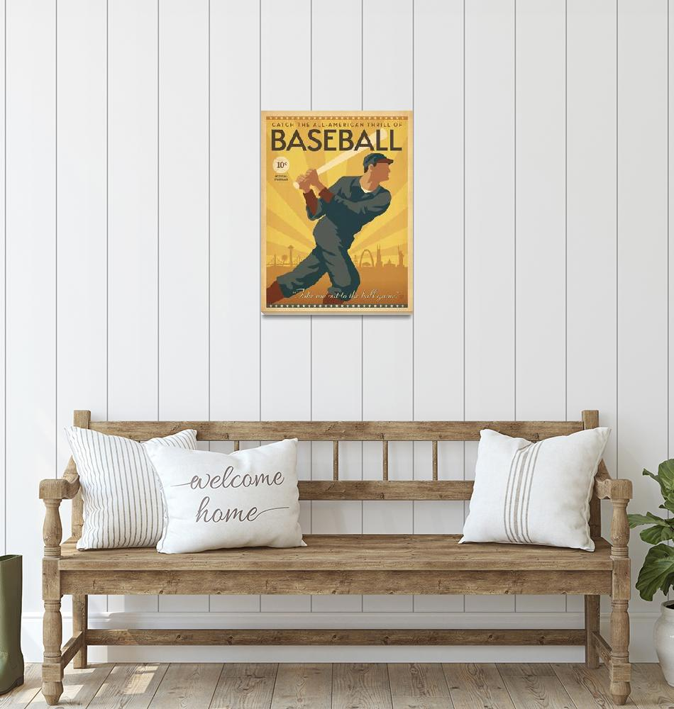 """""""All American Vintage Baseball Poster""""  by FineArtClassics"""