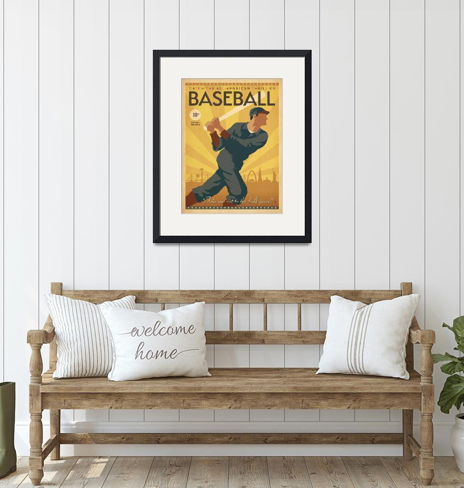 """All American Vintage Baseball Poster""  by FineArtClassics"