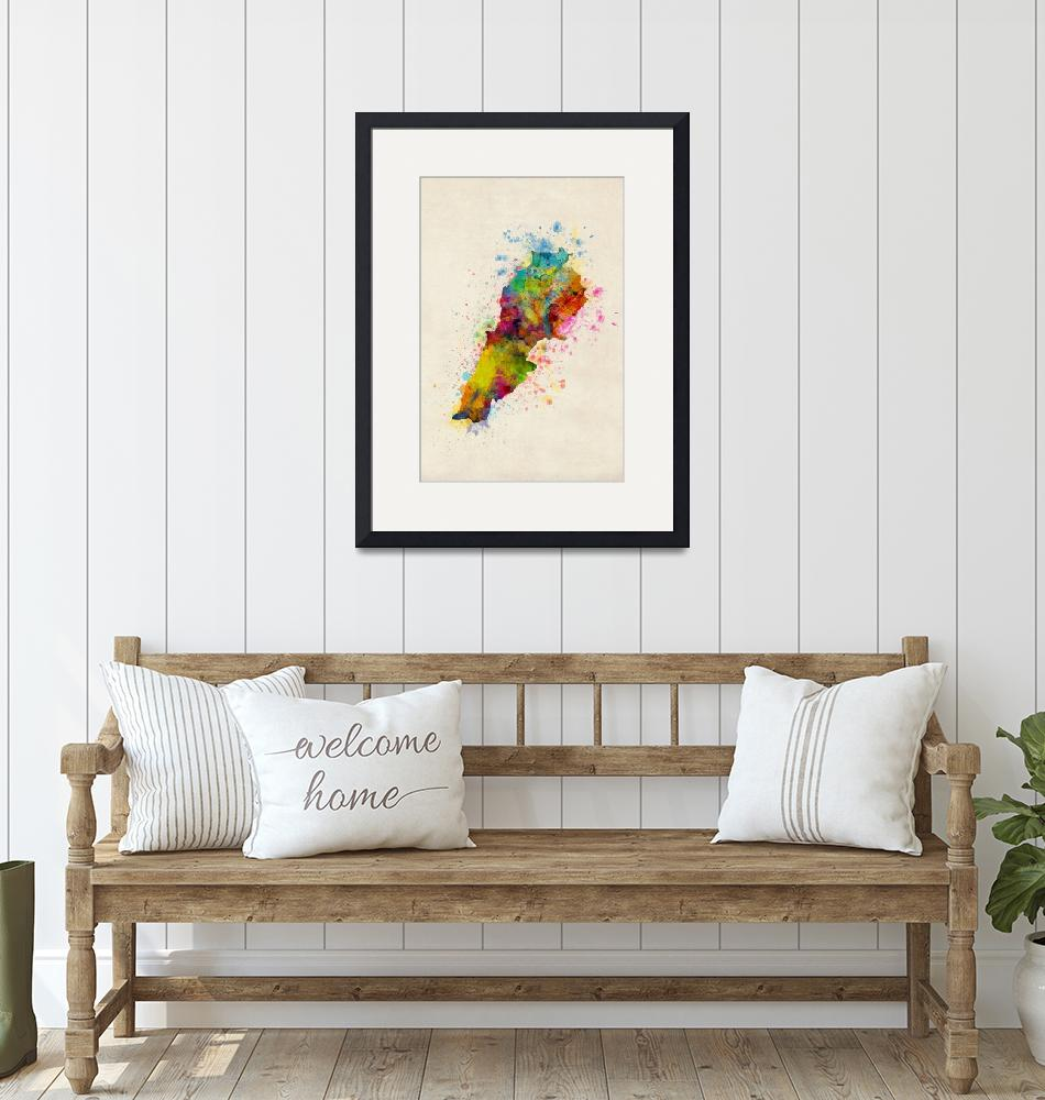 """Lebanon Watercolor Map""  (2017) by ModernArtPrints"