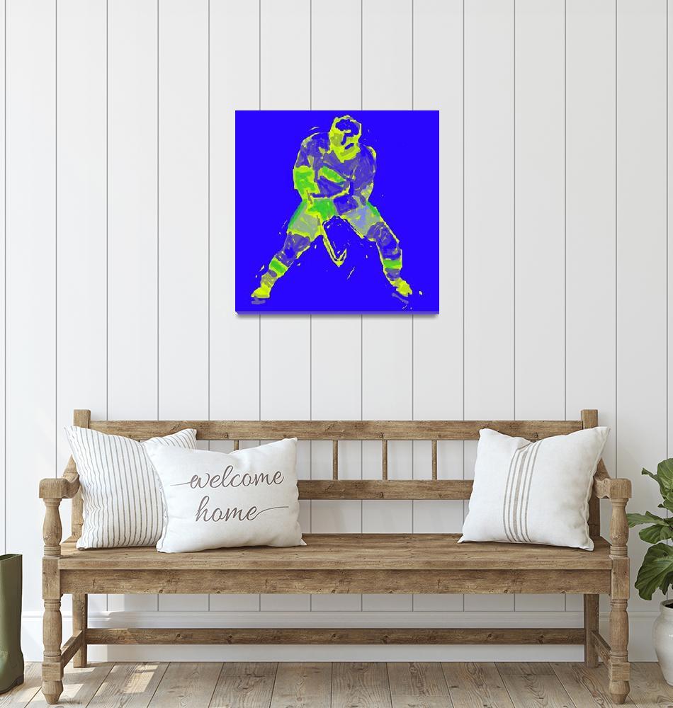 """Hockey Defenseman blue yellow (c)""  (2014) by edmarion"