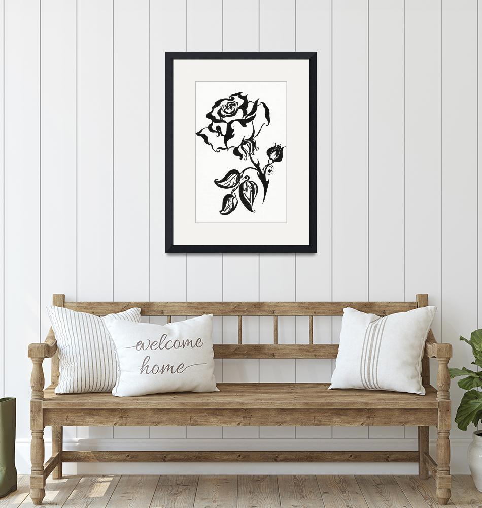 """""""Ink Drawing Chinese Rose""""  (1980) by JennyRainbow"""