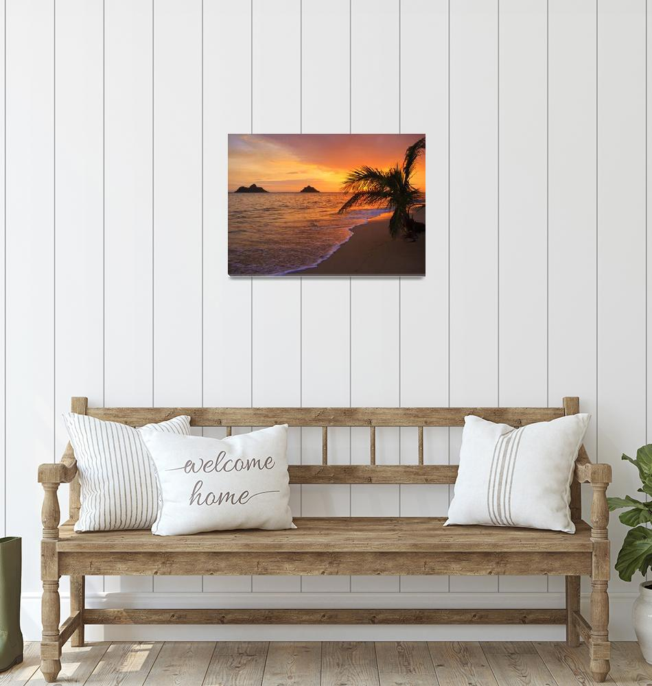 """Pacific sunrise at Lanikai beach in Hawaii""  (2008) by tomasdelamo"