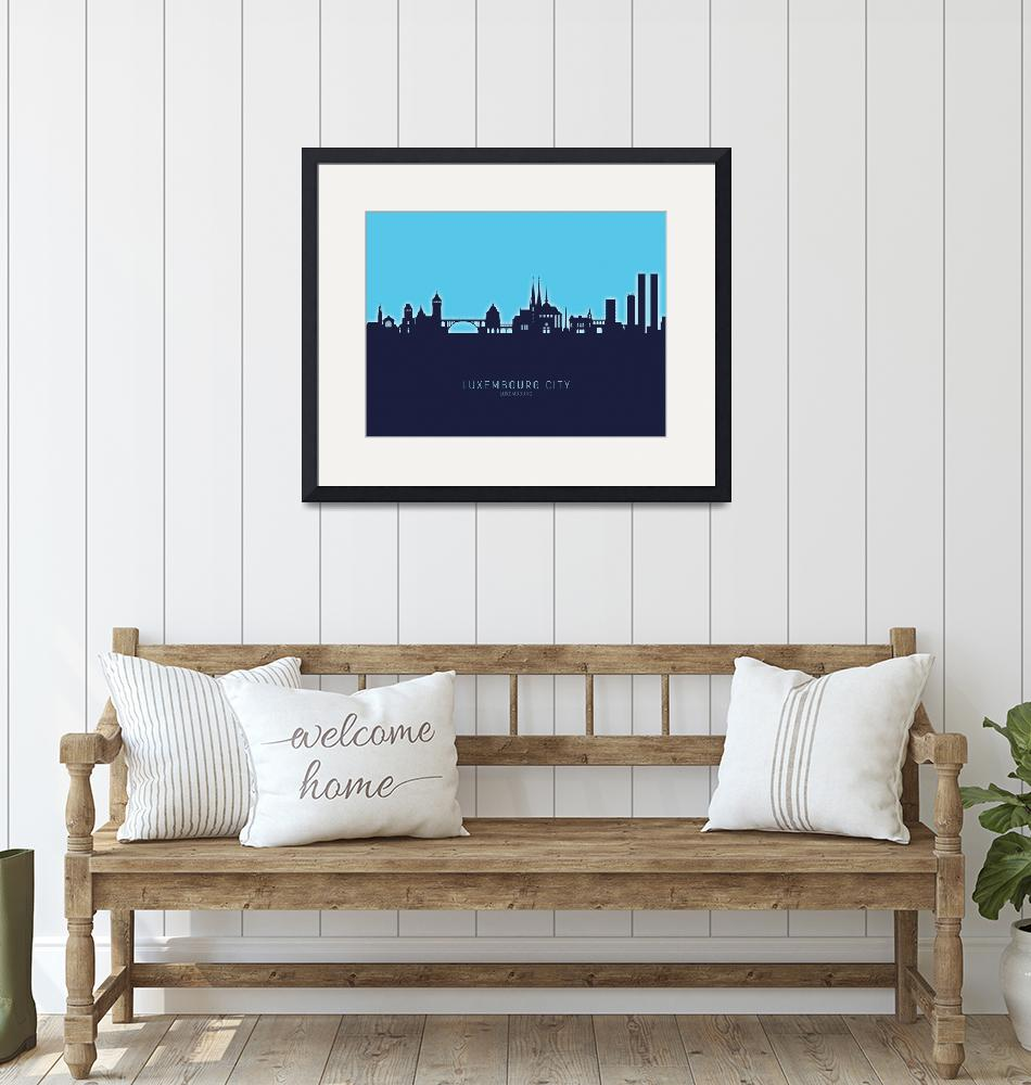 """Luxembourg City Skyline""  (2020) by ModernArtPrints"