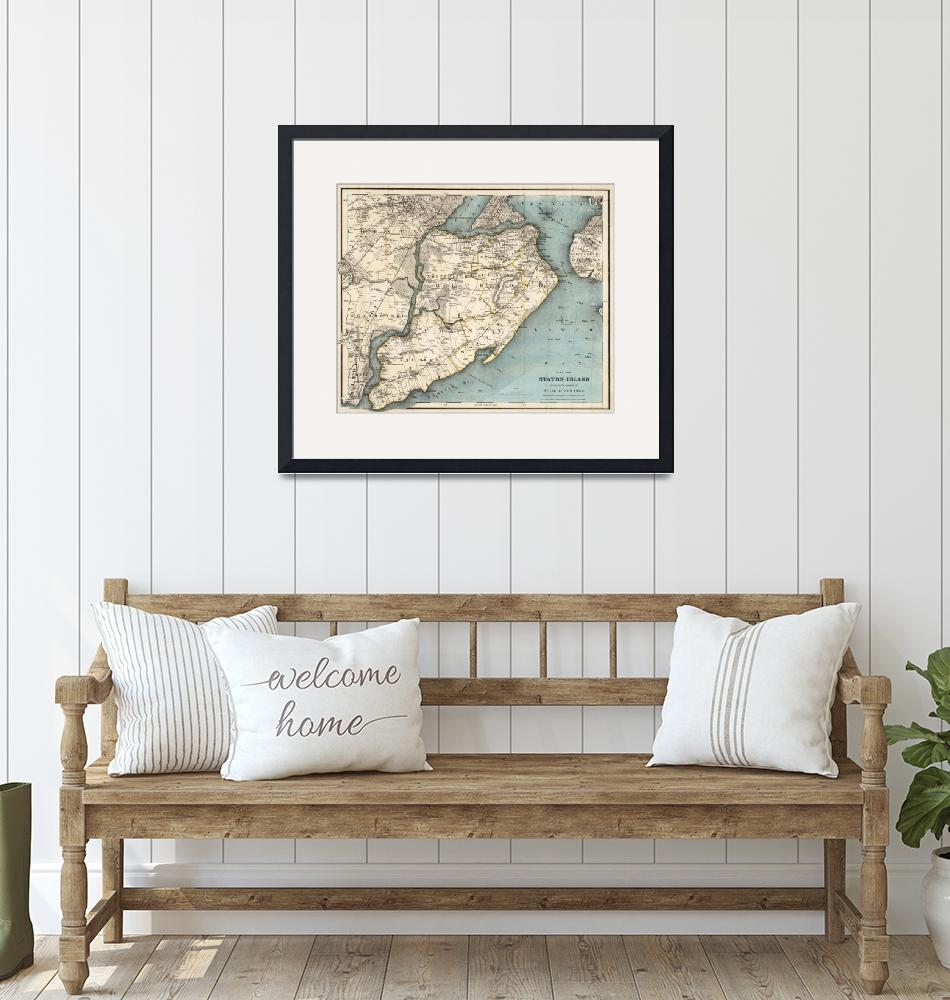 """""""Vintage Map of Staten Island NY (1896)""""  by Alleycatshirts"""