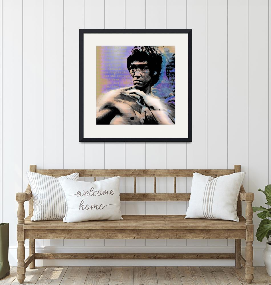 """Bruce Lee and Quotes Square""  (2013) by RubinoFineArt"