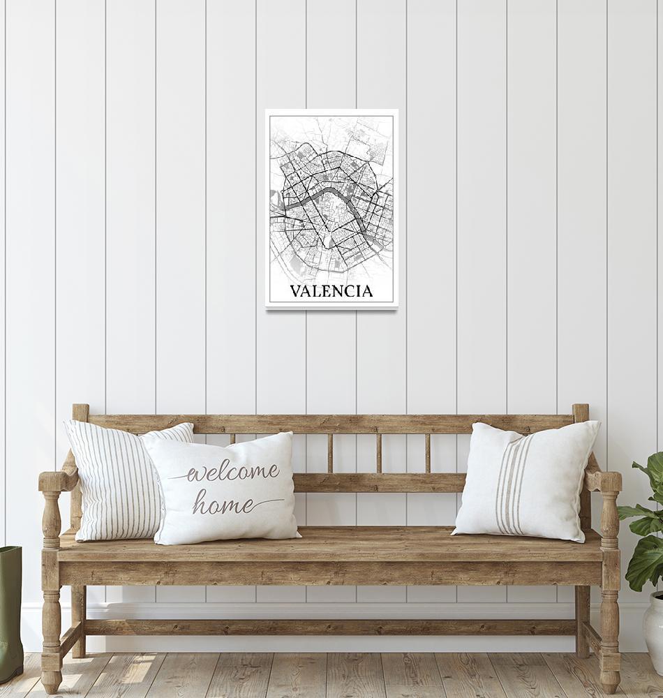 """Valencia, Spain, city map print.""  by dandistudio"