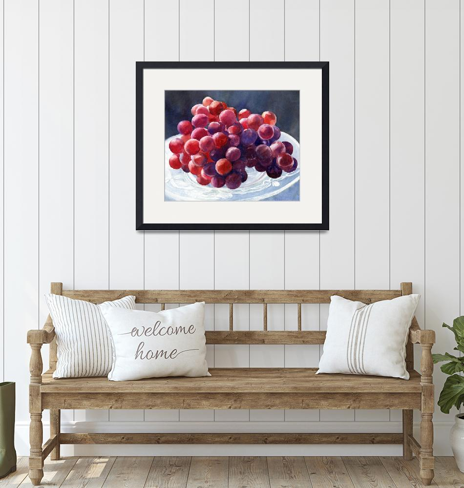 """""""Red Grapes on a Plate with Dark Background""""  (2010) by Pacific-NW-Watercolors"""