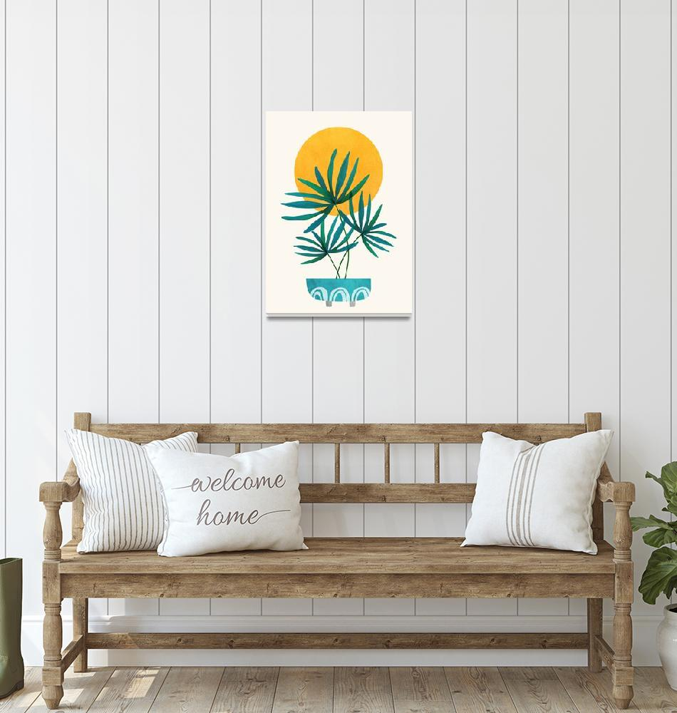 """""""Little Palm - Retro Sunset Illustration""""  (2019) by moderntropical"""