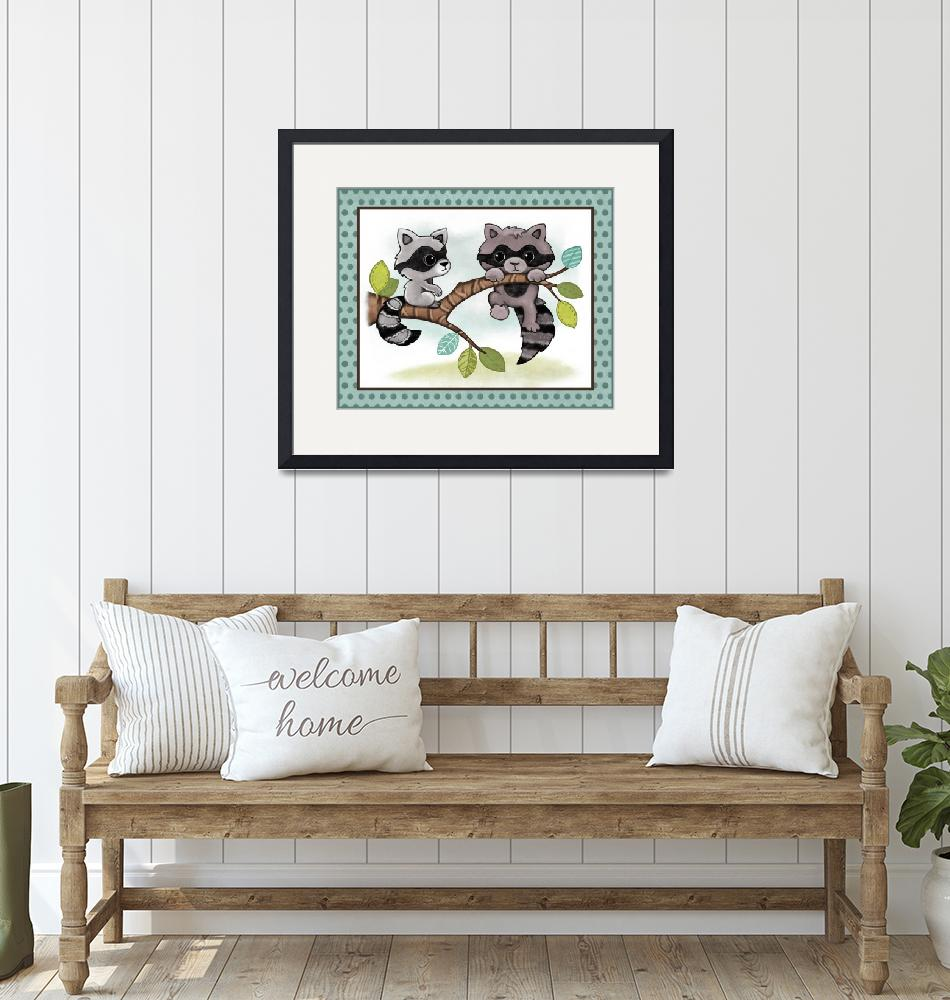 """Raccoons - Woodland Animal Tales Nursery Art""  (2019) by Littlepig"