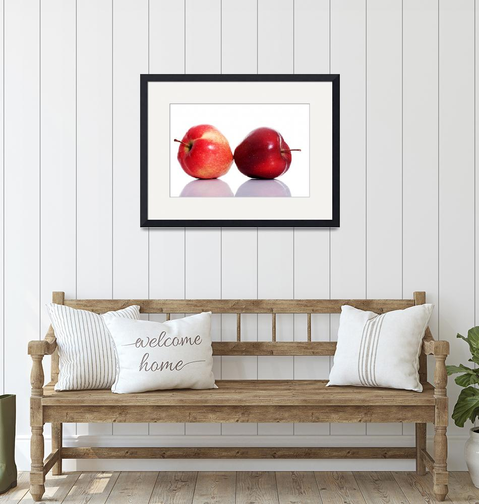 """""""Two red apples over white isolated on white.""""  by Piotr_Marcinski"""