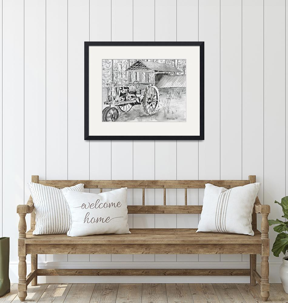 """""""tractor black and white drawing""""  (2013) by derekmccrea"""
