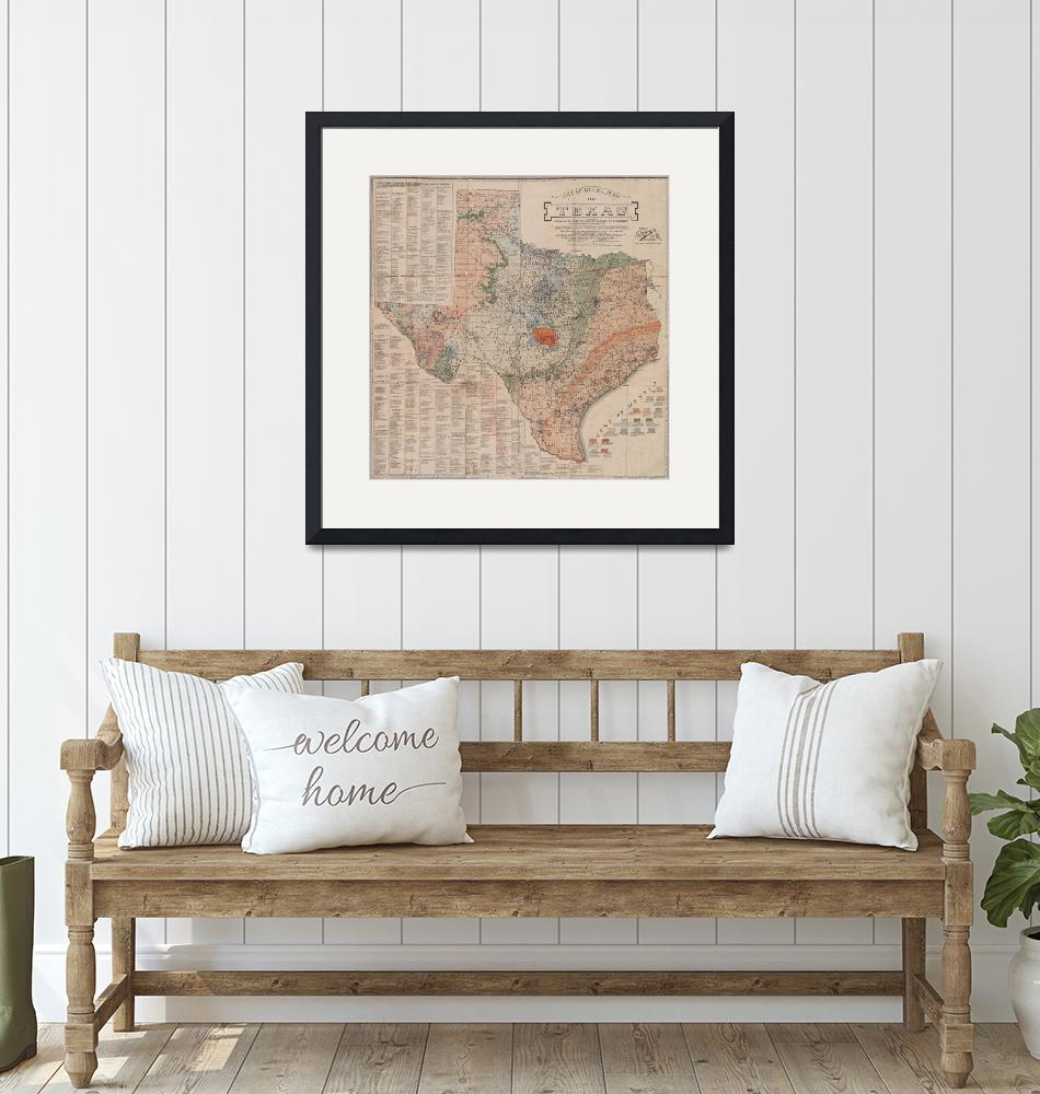 """""""Vintage Geological Map of Texas (1920)""""  by Alleycatshirts"""