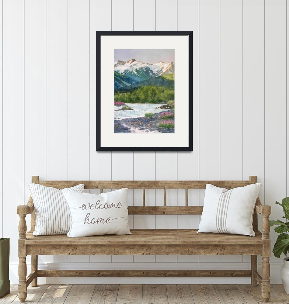 """Glacier Creek Summer Evening""  (2009) by Pacific-NW-Watercolors"