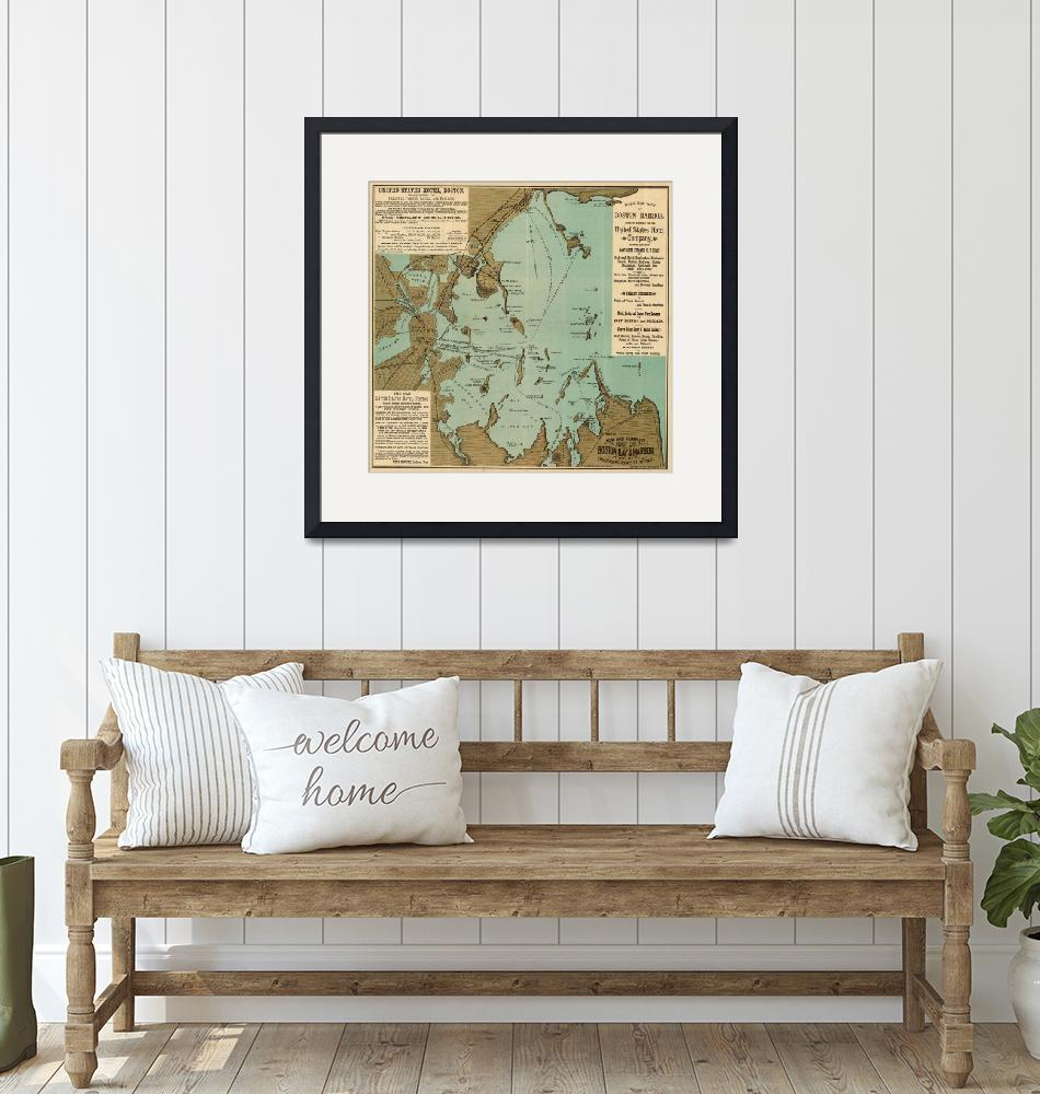 """""""Vintage Map of Boston Harbor (1884)""""  by Alleycatshirts"""