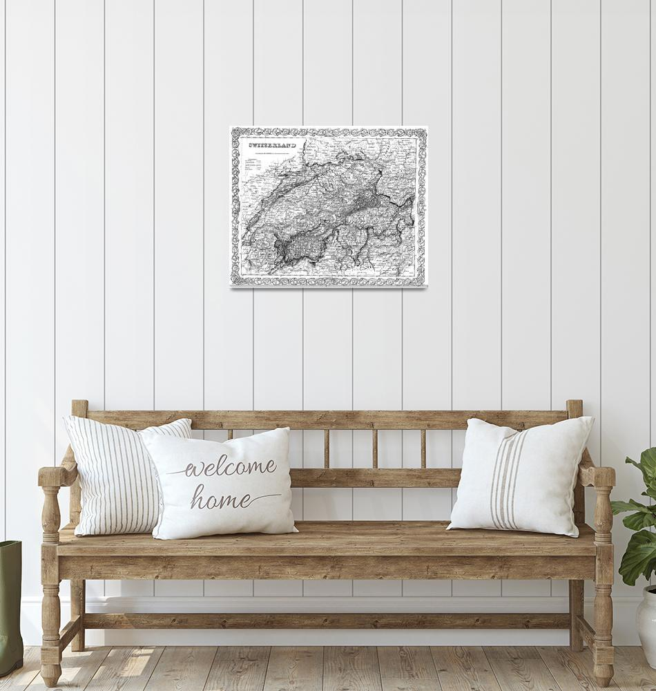 """Vintage Map of Switzerland (1856) BW""  by Alleycatshirts"