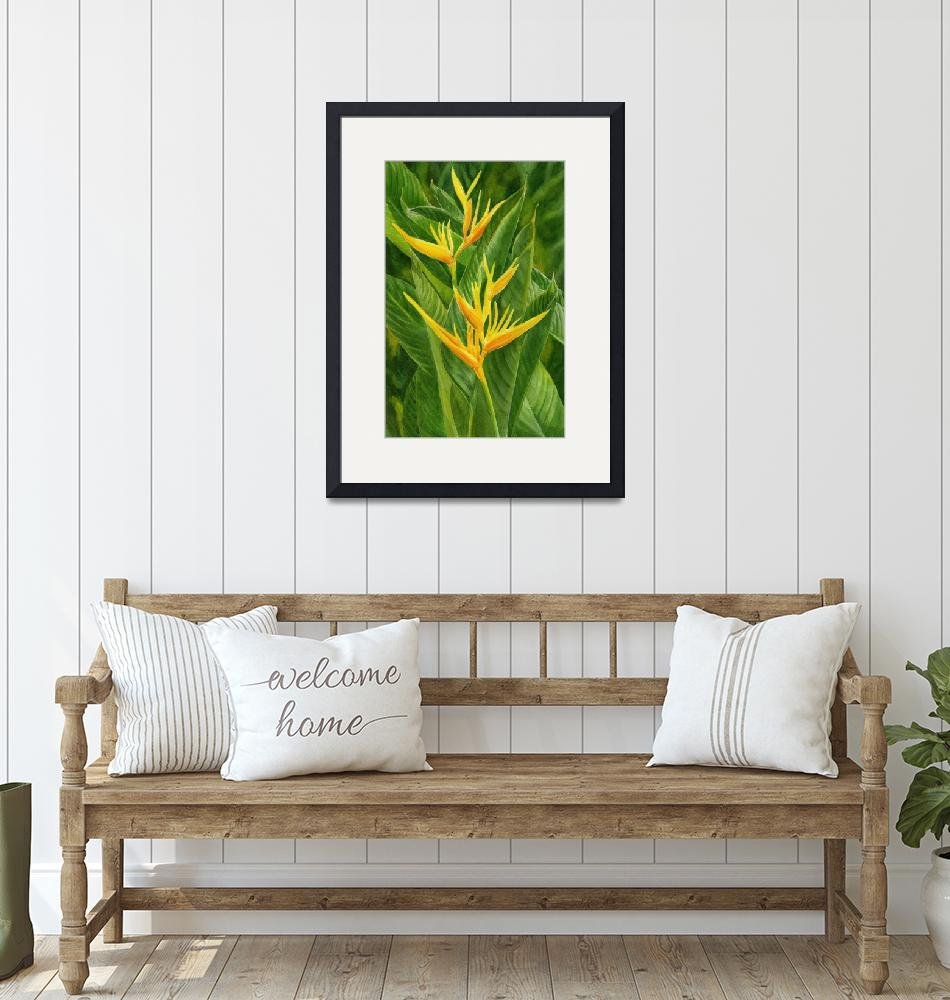 """""""Yellow Orange Heliconia with Leaves""""  (2015) by Pacific-NW-Watercolors"""
