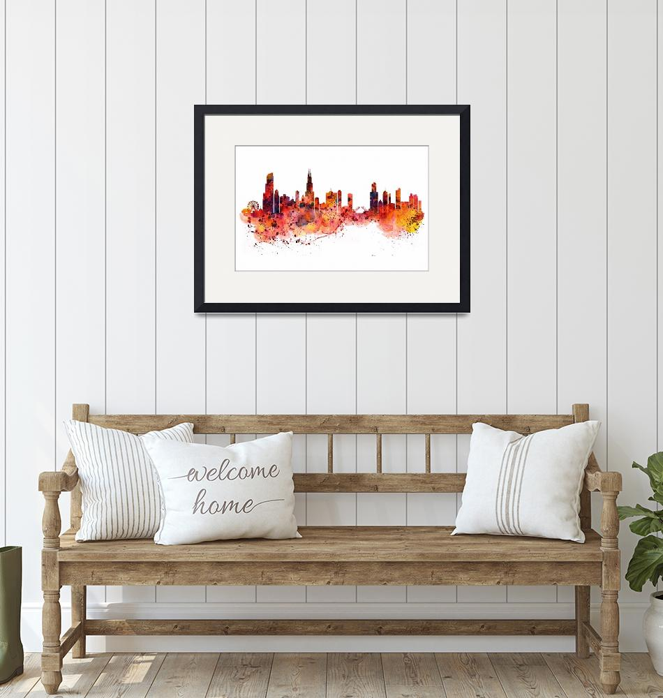 """Chicago Watercolor Skyline""  (2015) by MarianVoicu"