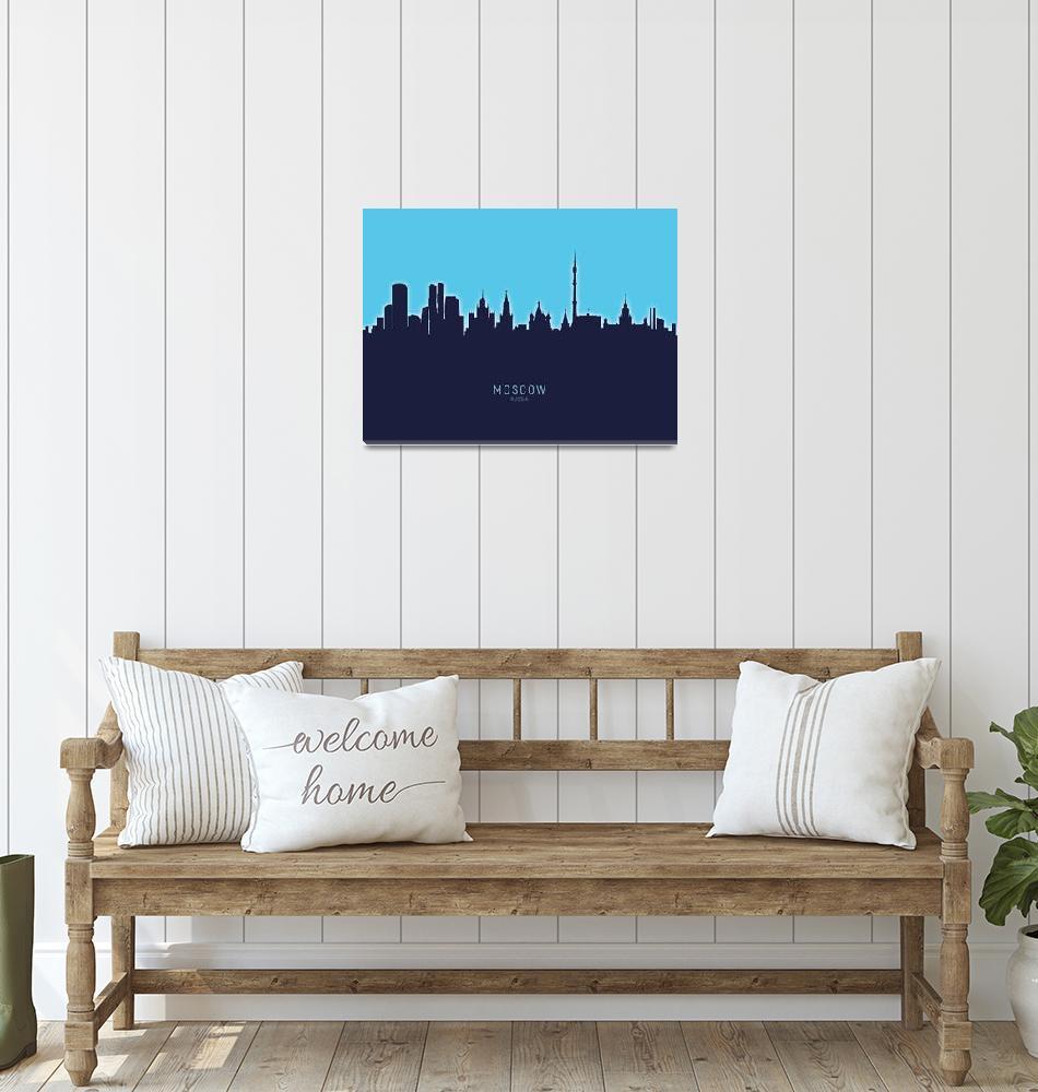 """Moscow Russia Skyline""  (2020) by ModernArtPrints"