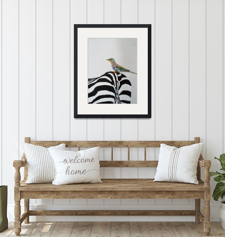 """Cute Bird with Zebra""  (2013) by lindalinsfineart"