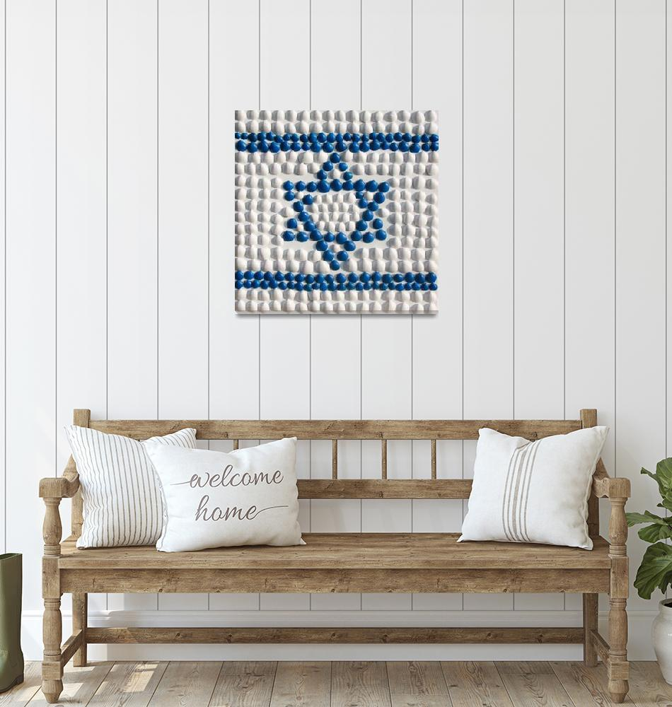 """The flag of Israel made of shells from Israel""  (2014) by Aleph-Ad-Tav"